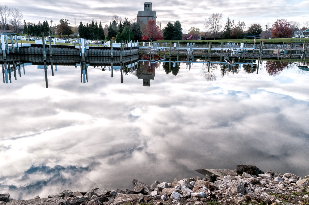 Clouds reflected in a very still river.