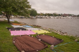 Blankets staked out in advance of the fireworks