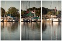 A multilens photo of sailboats on race day.