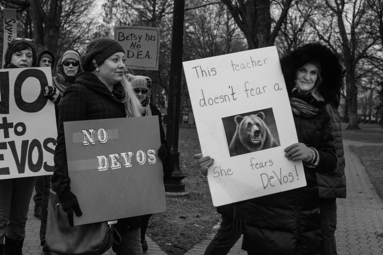 Home town protest against Betsy De Vos